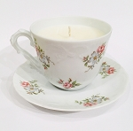 Tea Time Scent Candle in Princess House Rose Garden Cup and Saucer - Tea Time Soy Candle - ONE LEFT