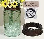 SALE - Brown Metal Flower Frog - Fits Standard Size Mason Jar