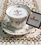 Blueberry Thyme Soy Candle - Soy Tea Cup Candle - Royal Albert Brigadoon Tea Cup & Saucer