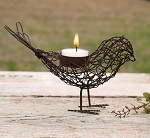 Rustic Wire Bird Tea Light Holder