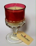 Tayberry & Teakwood Soy Candle - Soy Candle in Kings Crown Ruby Glass Goblet - 1 left