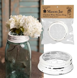 White Mason Jar Flower Frog